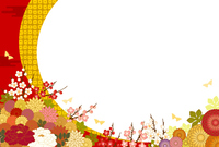 Japanese style background and flowers in full bloom [3995894] Postcard