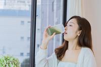 Women's pajamas drinking smoothies Stock photo [4078821] Smoothie