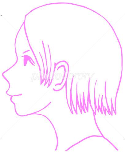横顔 イラスト 女の子