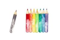 Rainbow colored pencils, black [4199286] Pencil
