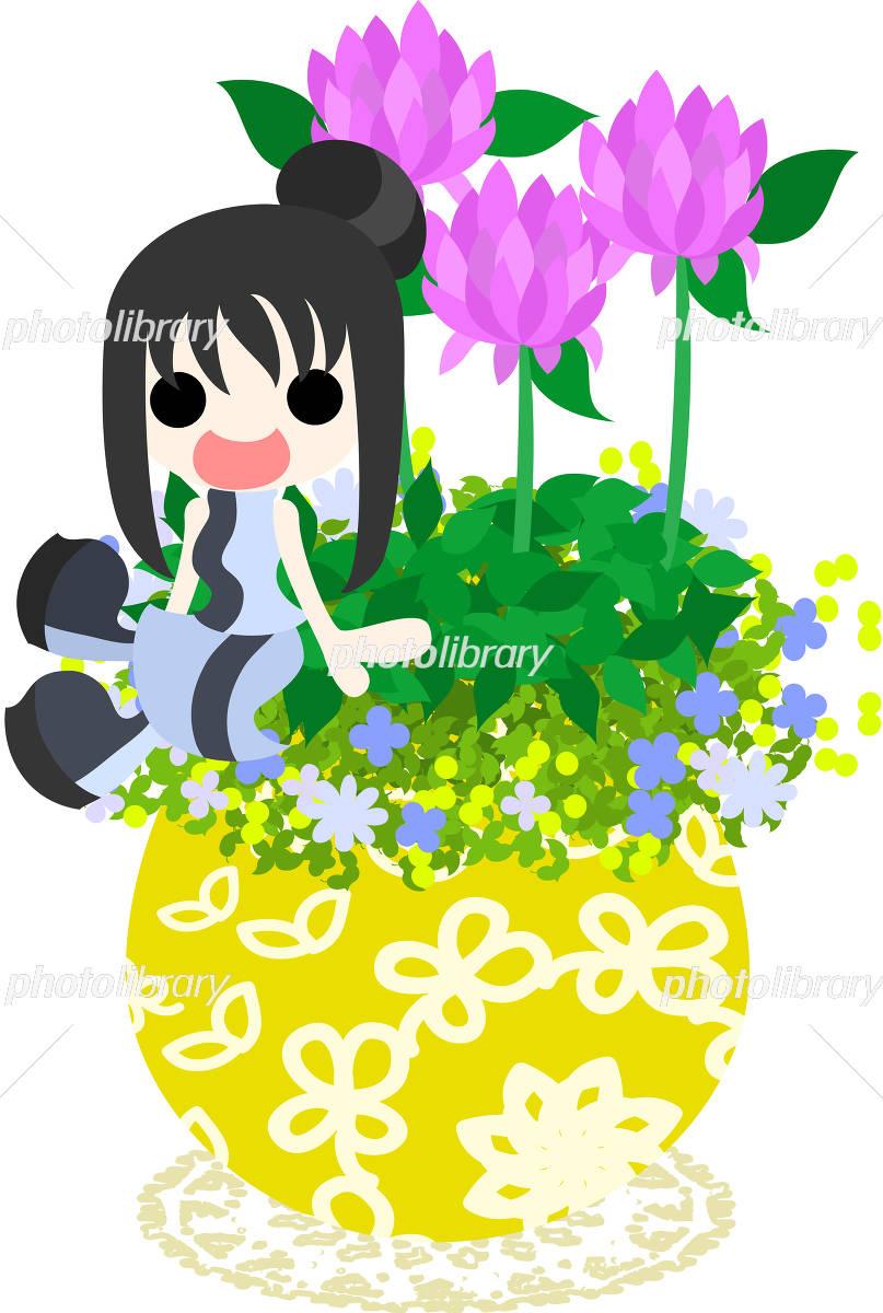 花の植木鉢と女の子のイラスト イラスト素材 4249508 フォトライブ