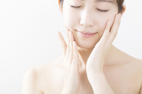 Women Beauty hand Hand Care Skin Care eyes there body parts white back Stock photo [4305684] Hand