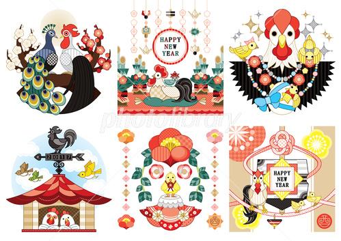 2017年酉年年賀状用イラスト孔雀鶏門松縁起物風見鶏独楽 イラスト素材
