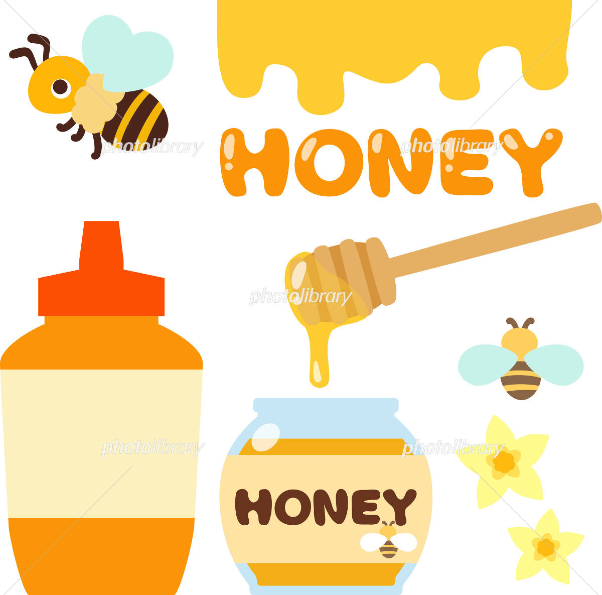ハチミツ入りのボトル瓶ミツバチ イラスト素材 4386101 フォト