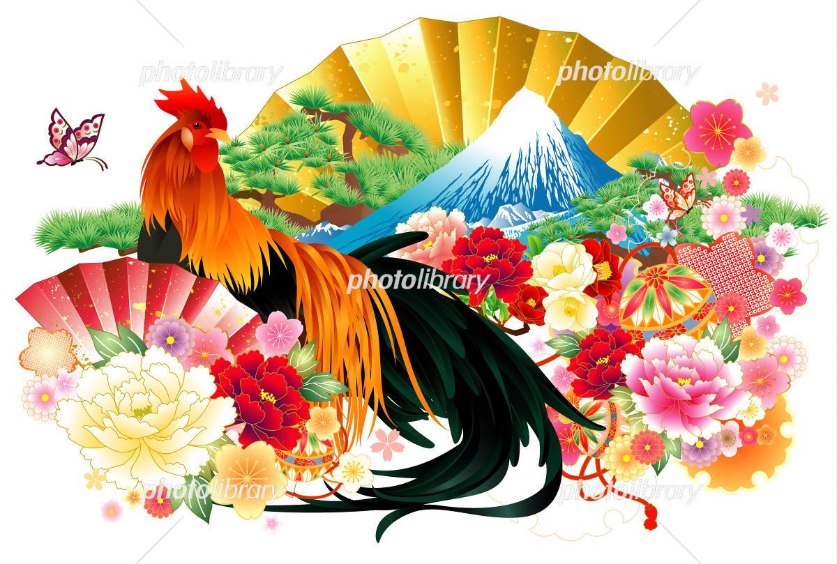 和風の尾長鶏 イラスト素材 4387421 フォトライブラリー Photolibrary