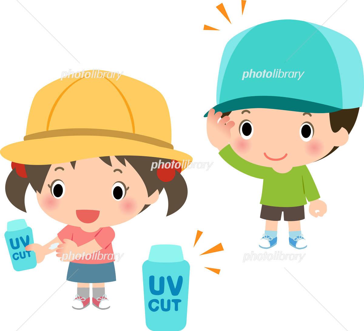 帽子や日焼け止めで紫外線対策をする子どもたち イラスト素材 4389204
