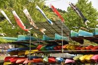 Canoe and carp streamer Stock photo [4391412] Canoe