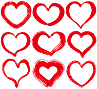 Heart of set handwriting brush illustrations [4464076] heart