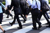 Businessman commuting to walk the crosswalk Stock photo [4471504] Businessman