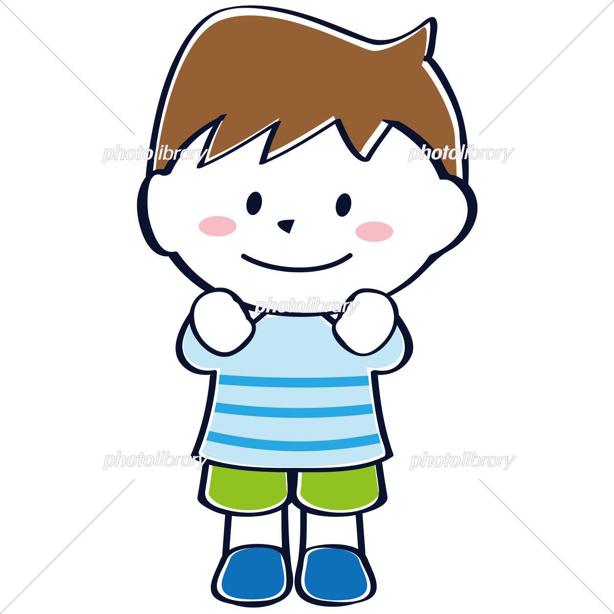 かわいい子供 児童 笑顔 わくわく男の子 イラスト素材 4552404