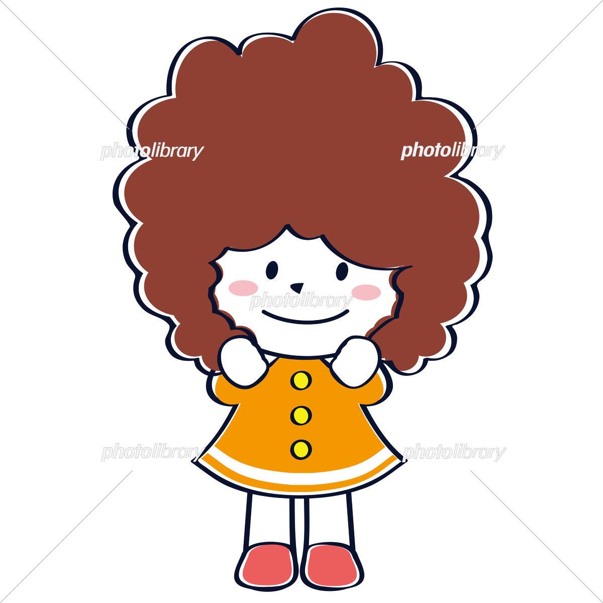 かわいい子供 児童 笑顔 ふわふわあたまわくわく女の子 イラスト素材