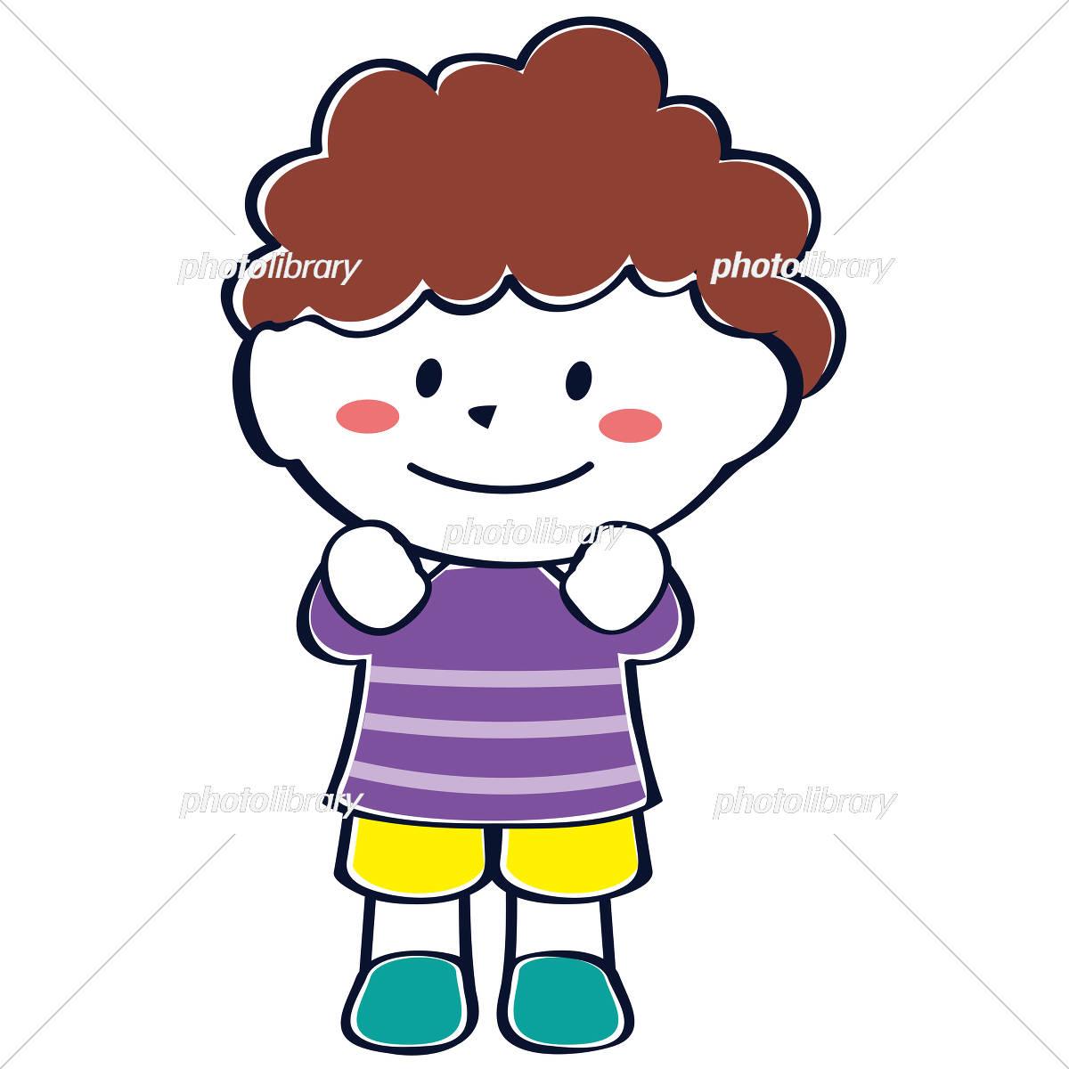 かわいい子供 児童 笑顔 わくわく男の子 イラスト素材 4552413