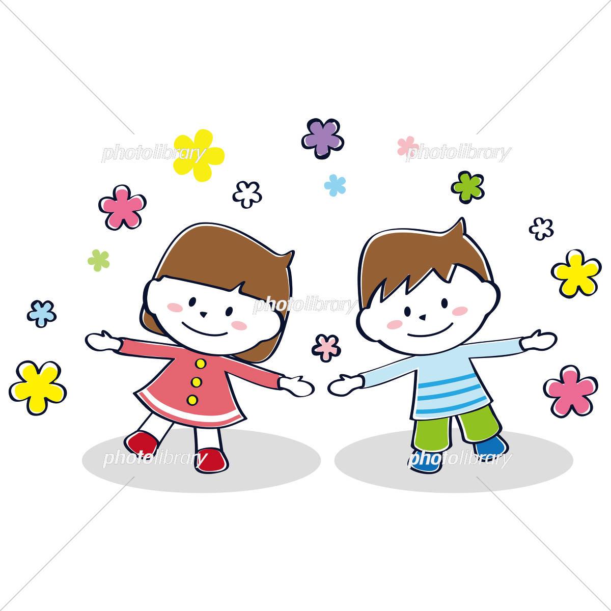 かわいい男の子と女の子 長袖 イラスト素材 [ 4552424