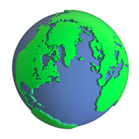 Green land and blue sea of \three-dimensional Earth 3D rendering image [4551912] Earth