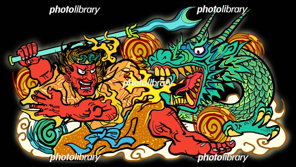 ねぶた祭り 黒背景 イラスト素材 4613274 フォトライブ