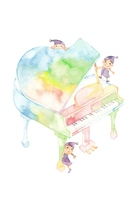 Rainbow piano, children 3 people [4621083] piano