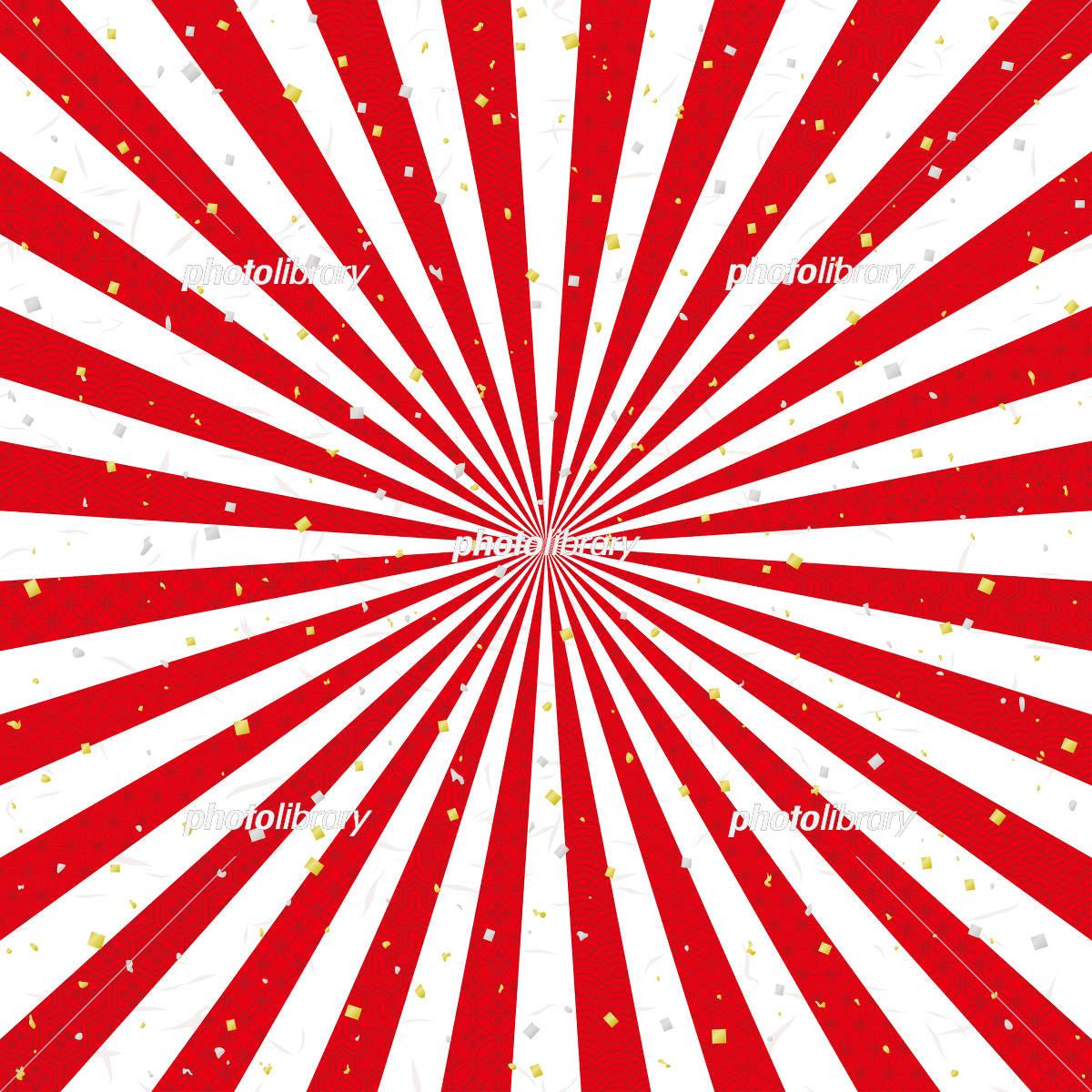 紅白 放射状 金銀ちりばめた和風背景のイラスト