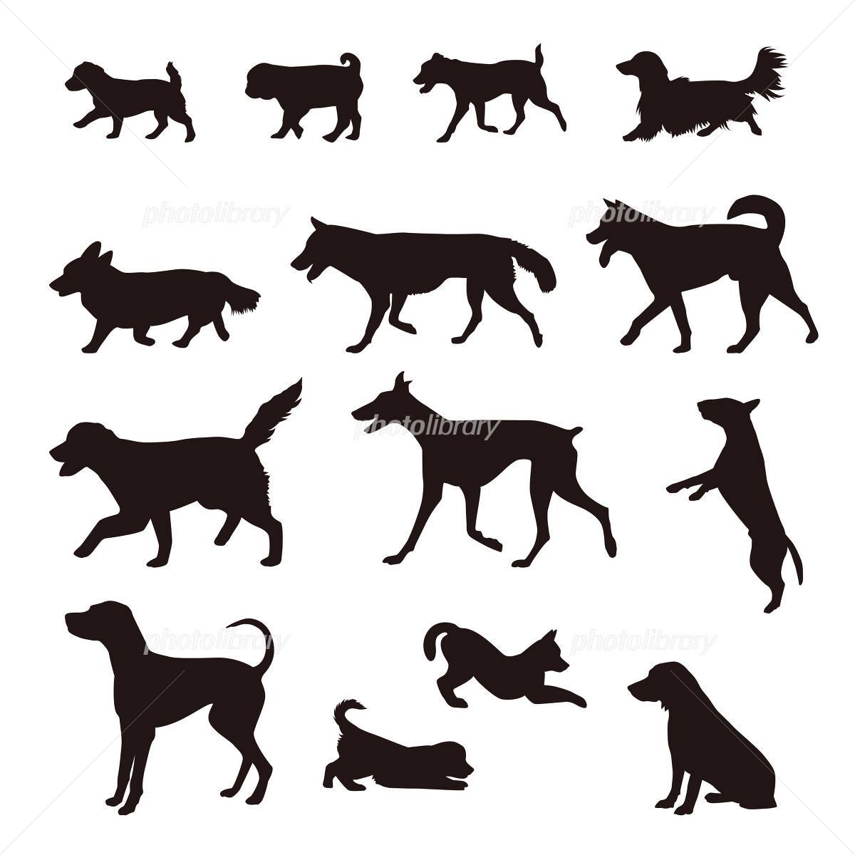 いろいろな犬のシルエット 柴犬 ゴールデンリトリバー ポインター