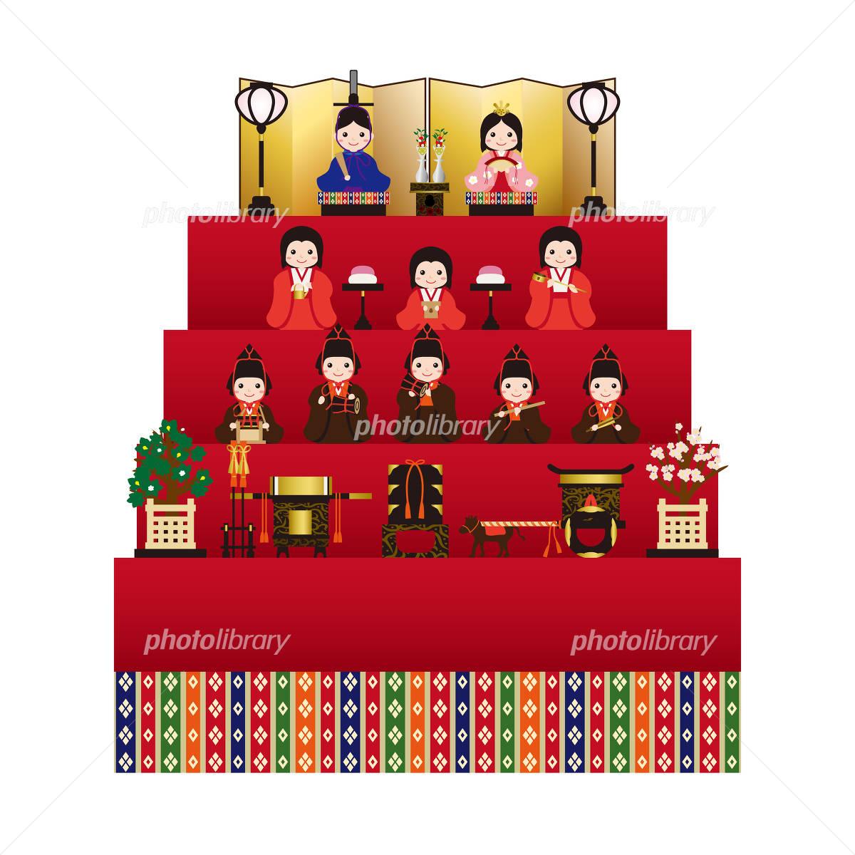 雛人形 三人官女と五人囃子 イラスト素材 4831308 フォトライブ