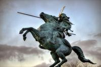 Mogami Yoshiaki bronze statue of the Duke of Kajo Park Yamagata