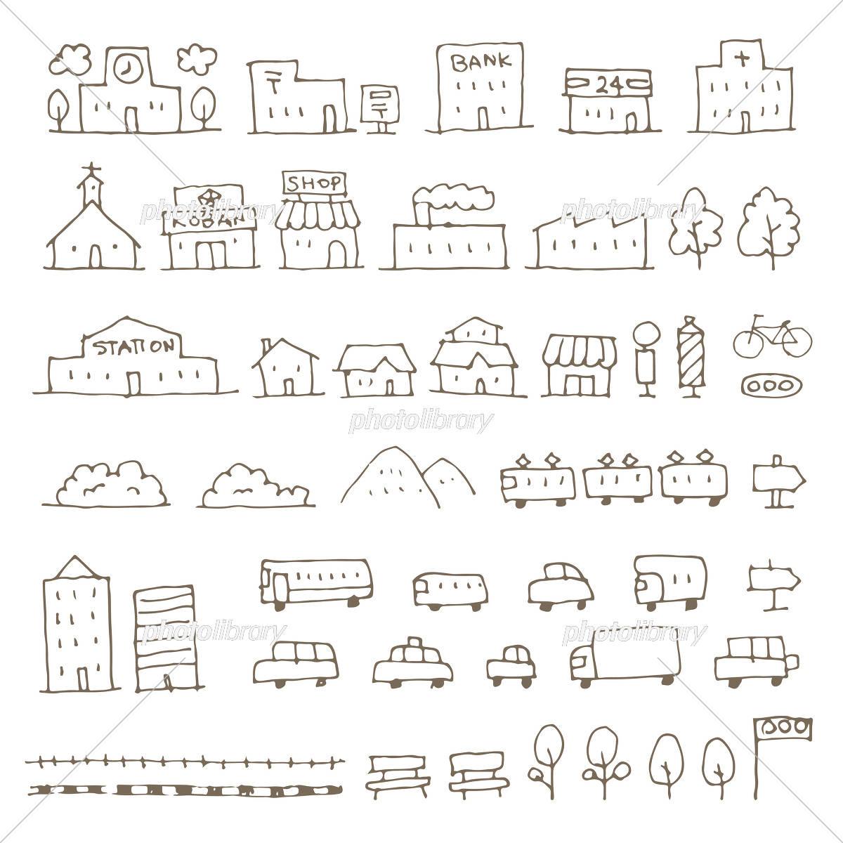 かわいい手描き地図用建物 乗り物アイコンイラスト イラスト素材