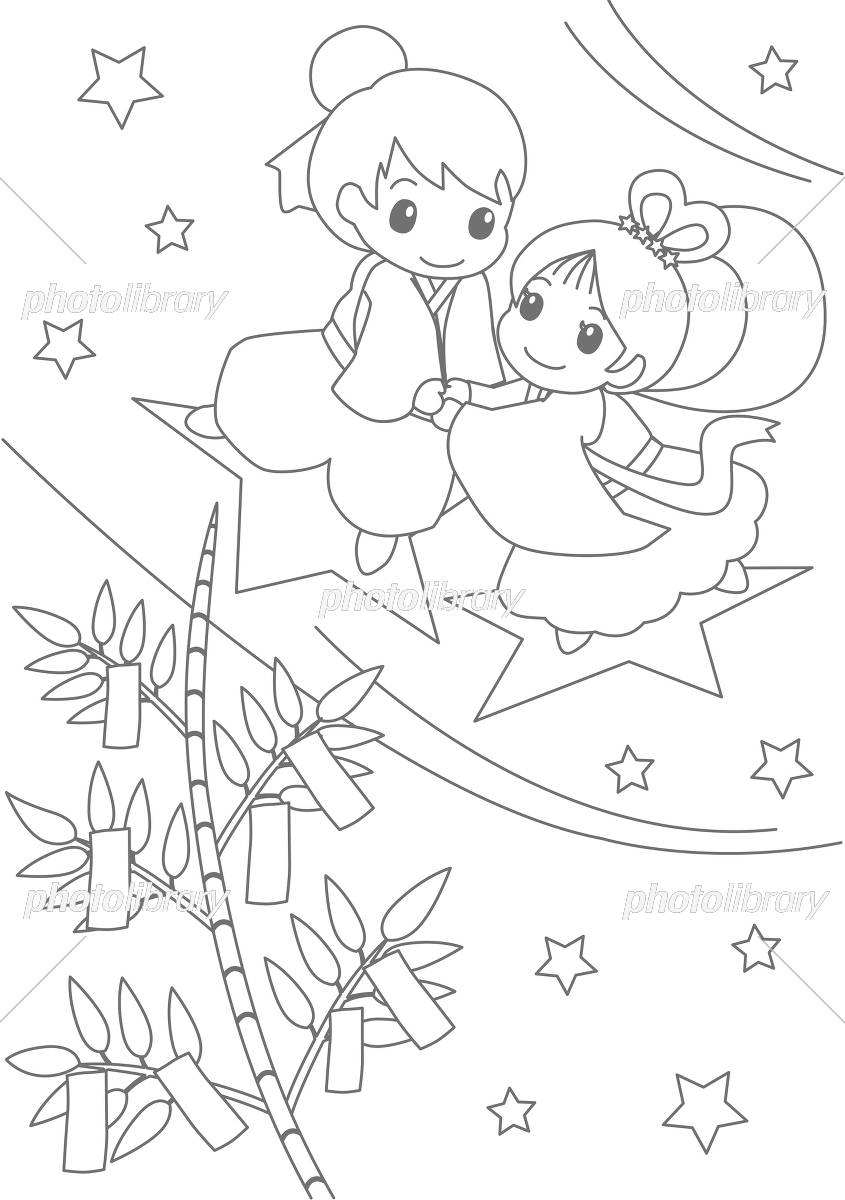 七夕ぬりえ イラスト素材 5039655 フォトライブラリー