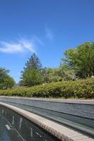城山公園 噴水と青空