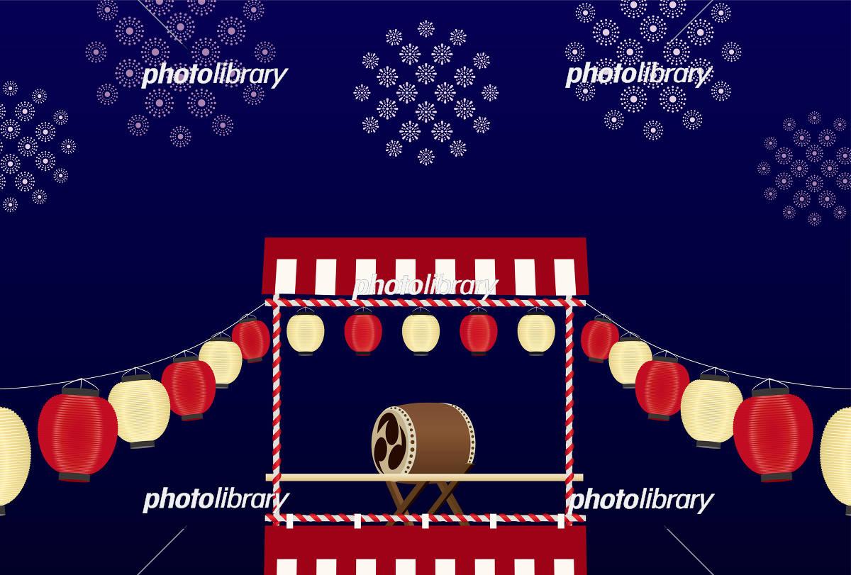 祭り 背景素材(はがきサイズ) イラスト素材 [ 5132198 ] - フォト