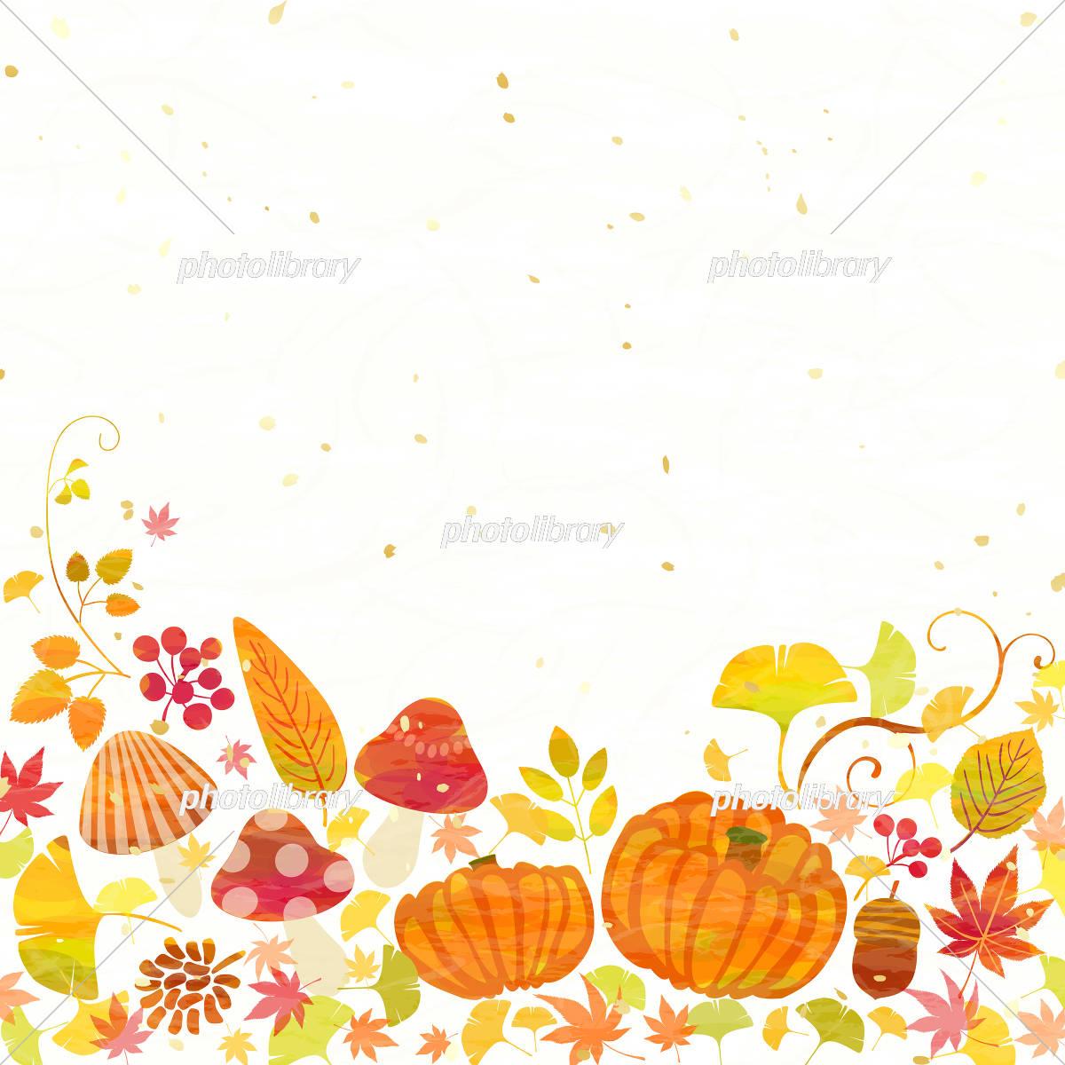 秋 かぼちゃ きのこ 紅葉 イラスト素材 フォトライブラリー Photolibrary