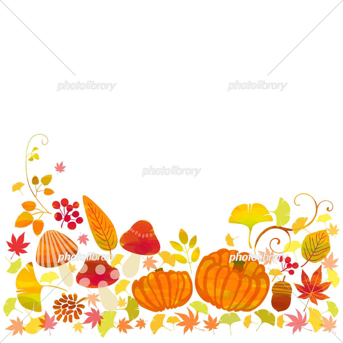 秋 かぼちゃ きのこ 紅葉 イラスト素材 [ 5211658 ] - フォトライブ