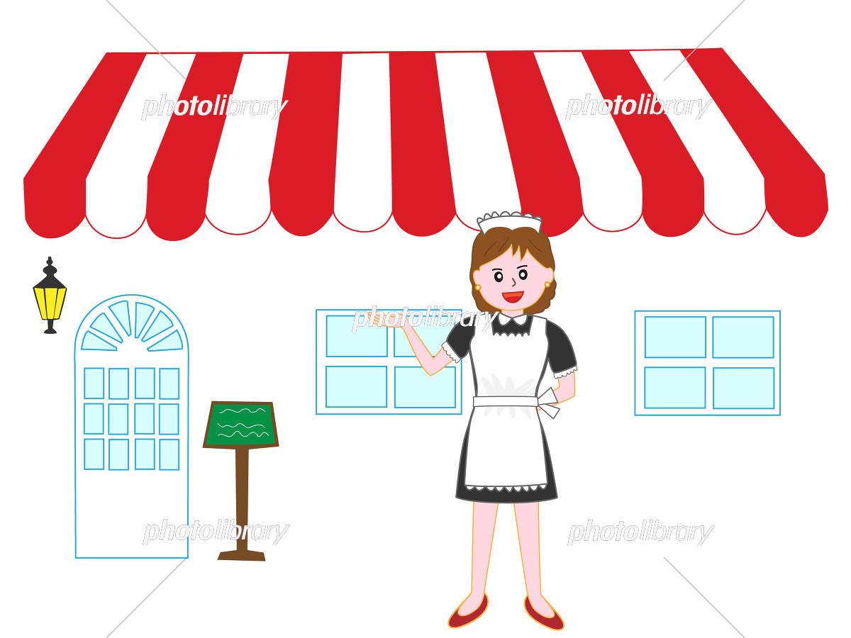 レストランのメイドの歓迎のポーズ イラスト素材 5211793 フォト