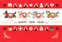 Dog lucky who runs New Year's card in 2018 year old Japanese style HAPPYNEWYEAR [5218512] A