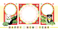 Year year greeting card template Shochiku dog Colorful pop Japanese style picture frame [5221604] A