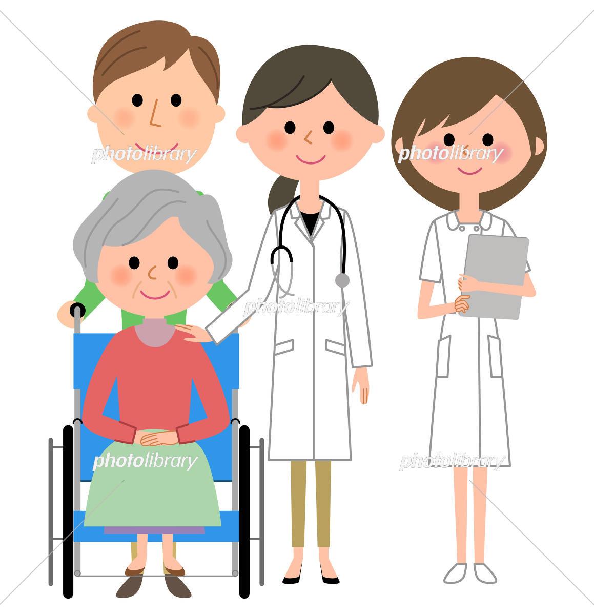 白衣の女性 看護師 車椅子の患者 イラスト素材 5314237 フォト
