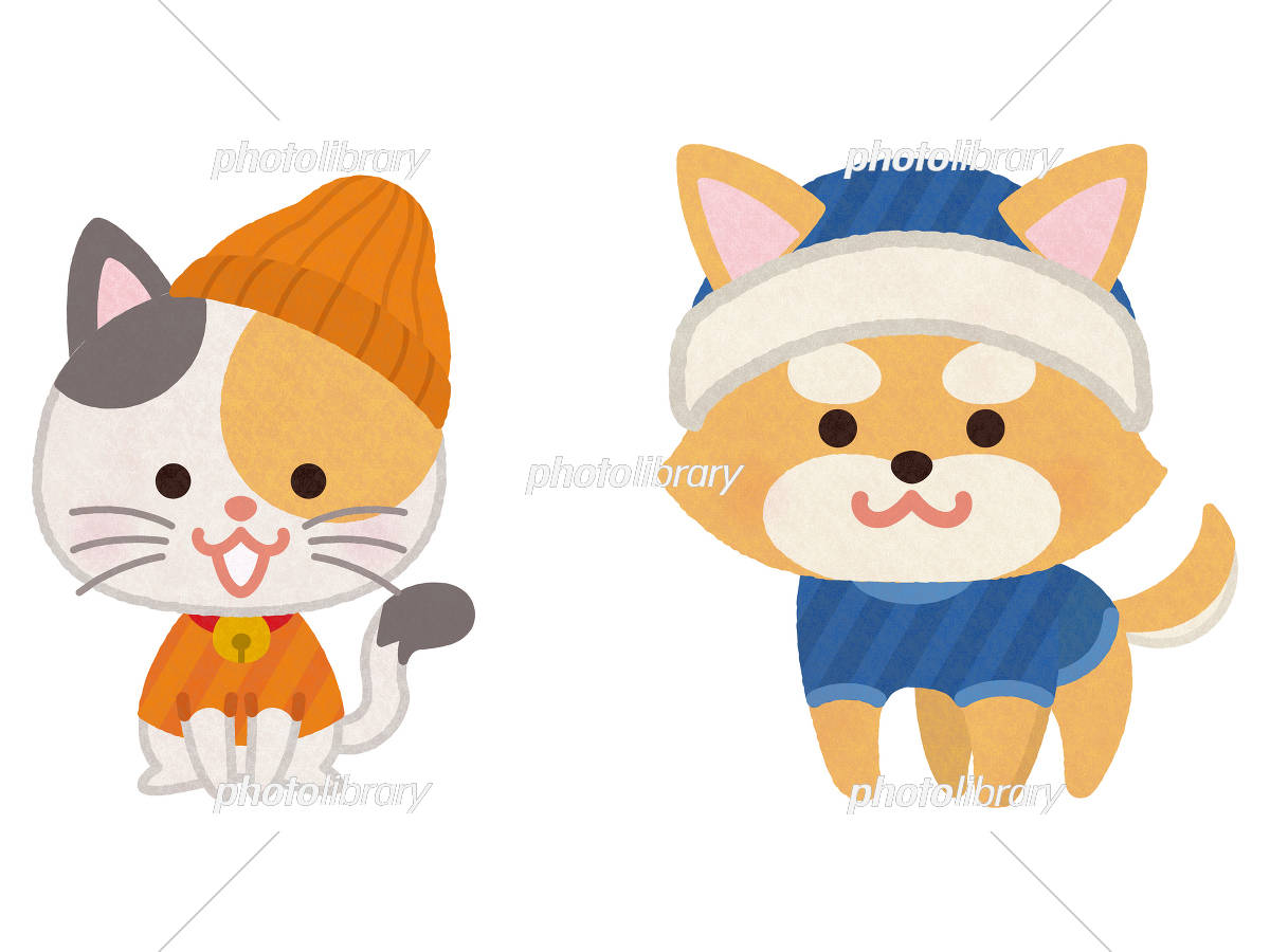 冬服を着た犬と猫 イラスト素材 [ 5754698 ] - フォトライブラリー