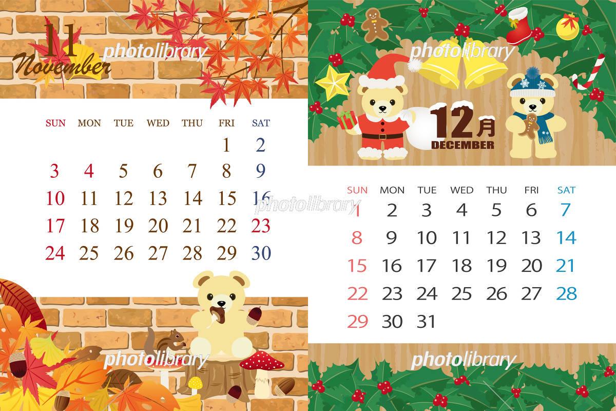 19年11月 12月 くまのイベントのカレンダー イラスト素材 フォトライブラリー Photolibrary