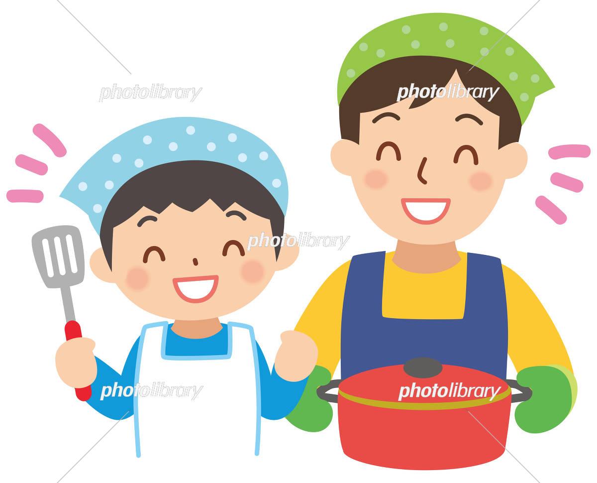 料理するお父さんと男の子 イラスト素材 5882875 フォトライブ