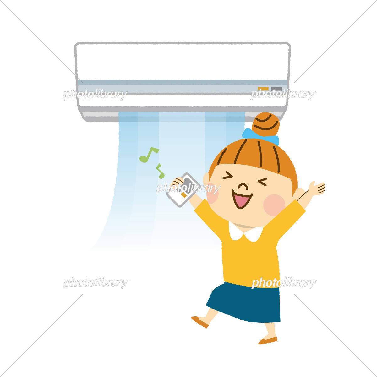 エアコンをつける女性 イラスト素材 [ 5923706 ] - フォトライブラリー ...