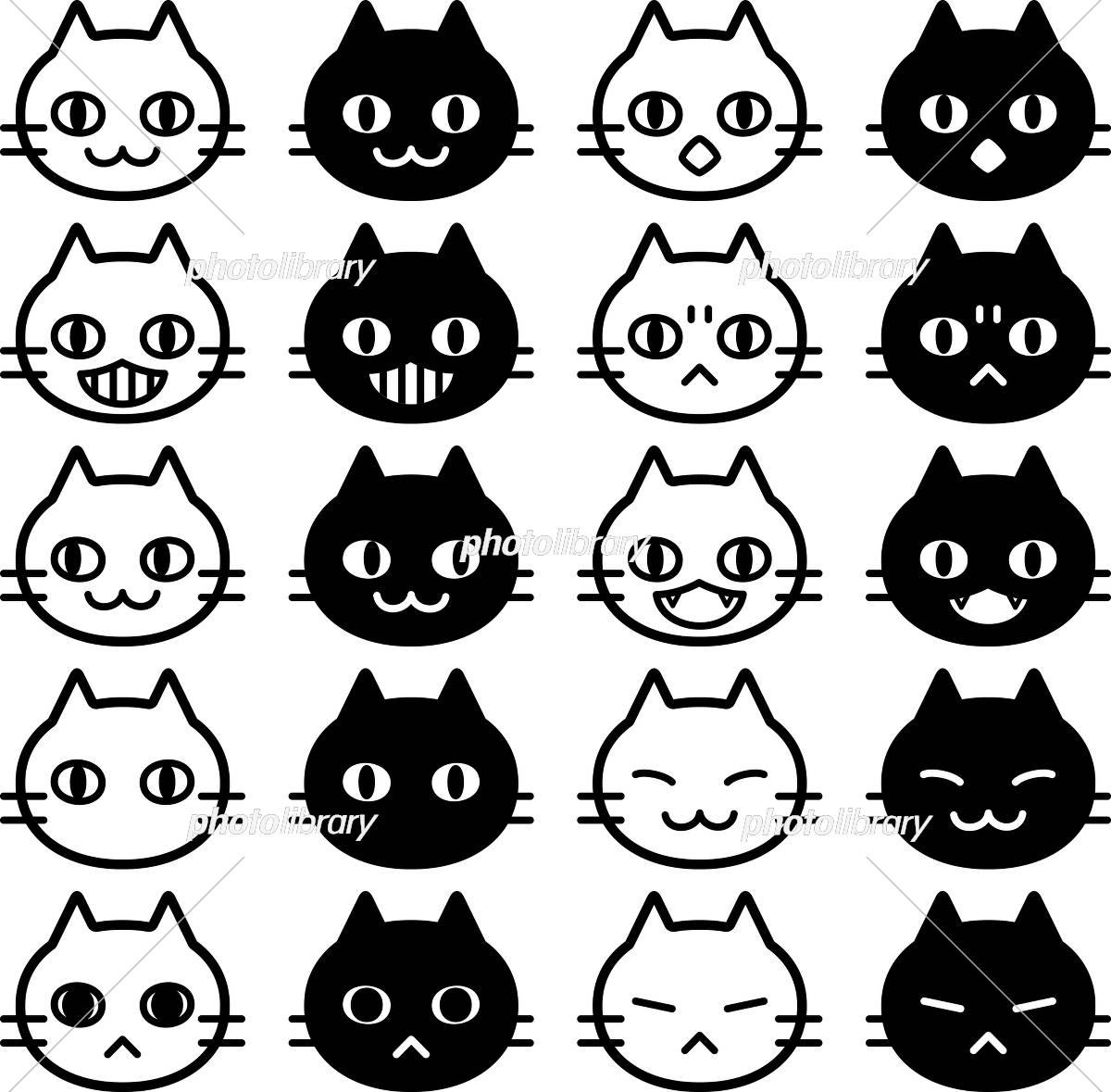 白猫と黒猫の顔アイコンセット イラスト素材 6005861 フォト