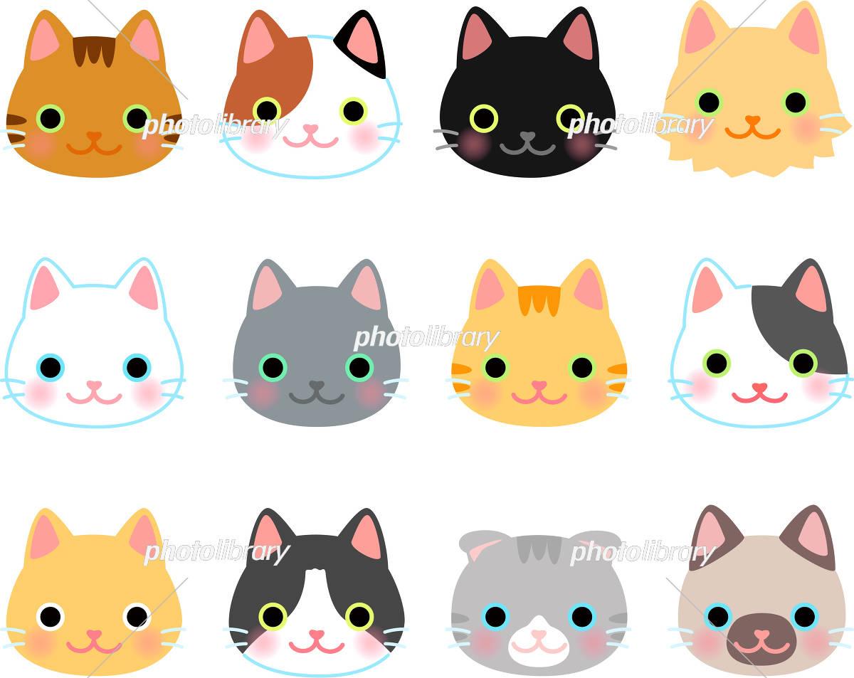 猫の顔のイラストセット イラスト素材 6040634 フォトライブ