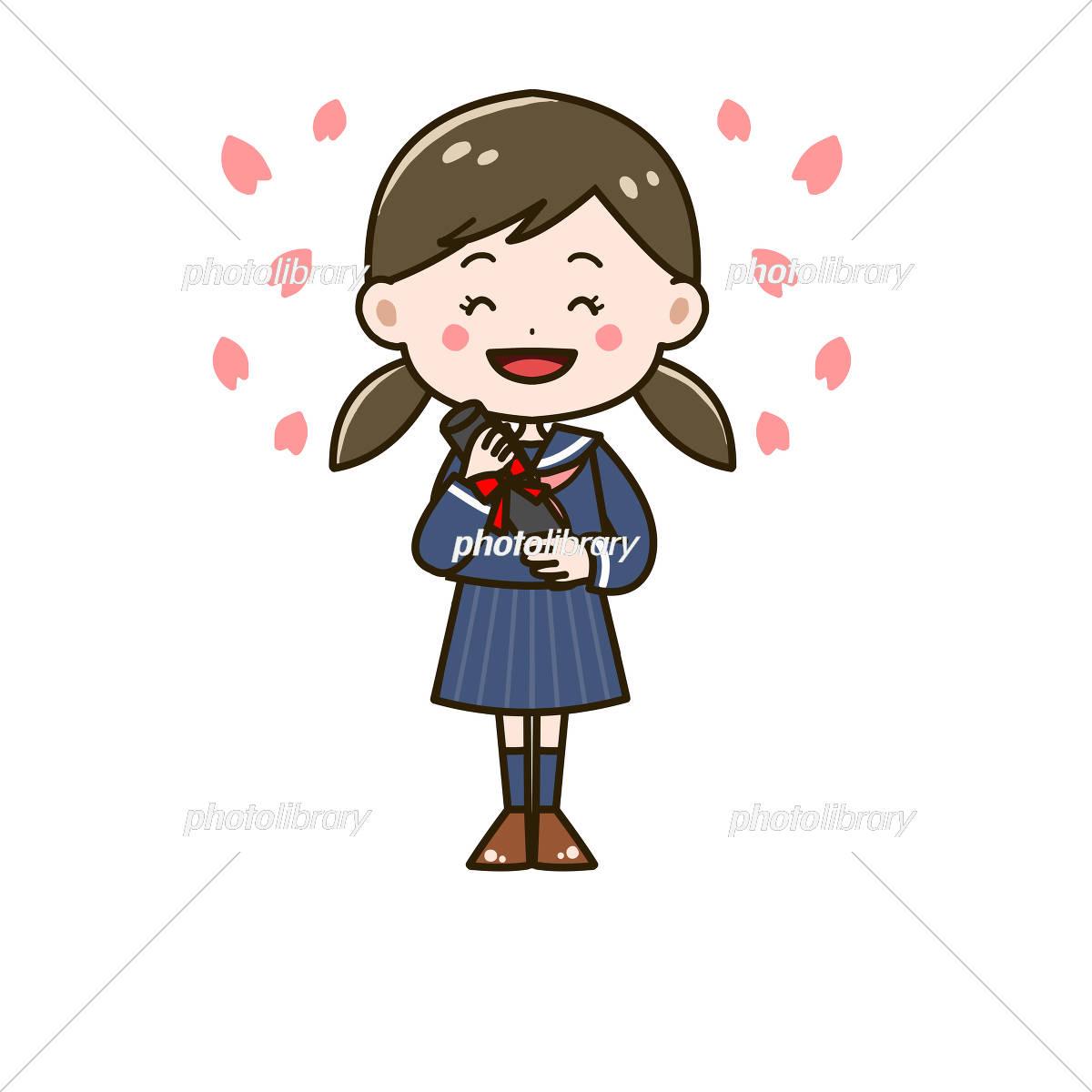 卒業式 笑顔の女の子 ポーズ イラスト イラスト素材 6065714