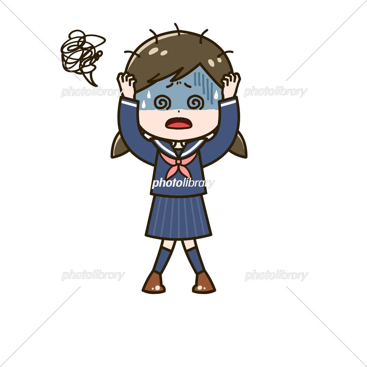 混乱する女の子 ポーズ イラスト イラスト素材 [ 6068231 ] - フォト ...