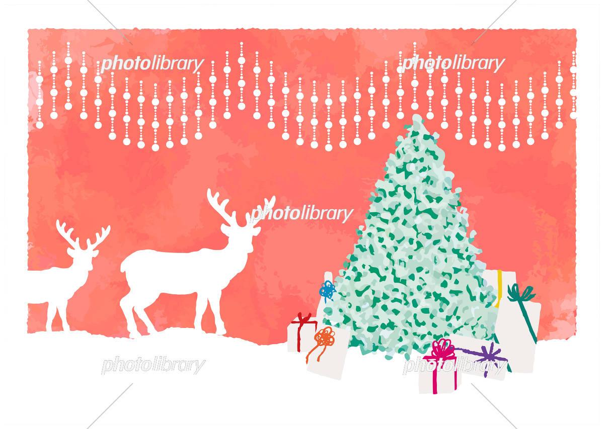 大人っぽいクリスマスのピンク系イラスト クリスマスツリー トナカイ プレゼント オーナメント イラスト素材 フォトライブラリー Photolibrary