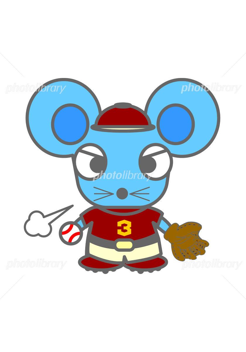 野球をするネズミのキャラクター イラスト素材 [ 820162