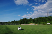 Soccer ball rolling on the ground Stock photo [887144] Ground