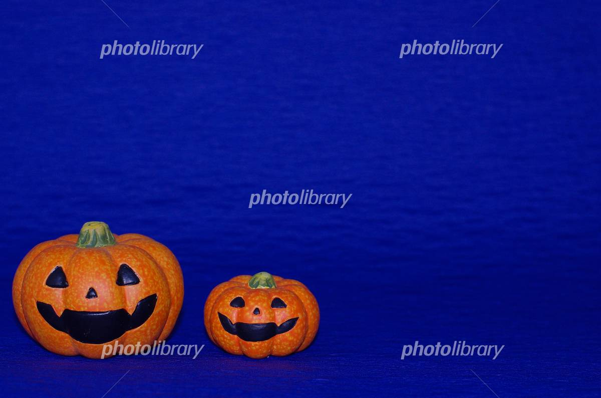 Blue back of Halloween pumpkin Photo
