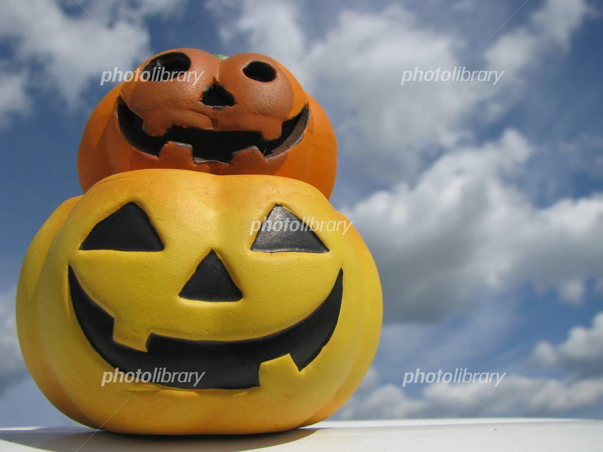 Autumn sky and Halloween pumpkin Photo