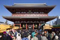 And crowded with tourists Hatsumode Sensoji Temple Stock photo [1304217] asakusa