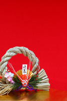 Red and golden background and rope decoration vertical Stock photo [1386046] Shimenawa