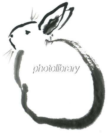 ウサギ 水墨画 後ろ向き イラスト素材 1487787 フォトライブラリー